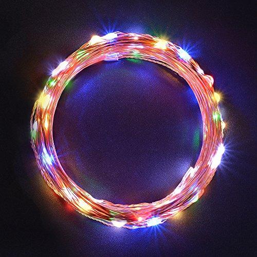 Sunix® Catene Luminose LED 11M 110 LED colorati Stringa LED con Adattatore di Alimentazione , Striscia Luce Filo di Rame per Uso Interno e Esterno per Decorazioni Festive e Natale