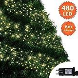 Weihnachtsbeleuchtung 480 LED 6m Warmweiß Außen Cluster Baumbeleuchtung String Innenlichterkette Memory Timer Netzbetrieben Beleuchtet Länge 10m Dachrinne Grünes Kabel