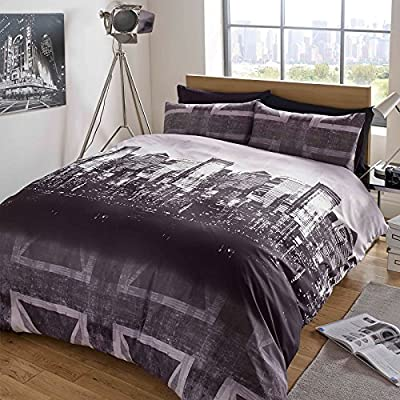 Dreamscene Duvet Cover with Pillow Case Bedding Set Skyline Union Jack Charcoal Purple - Double - inexpensive UK light shop.