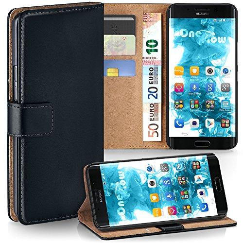 moex Huawei Mate 9 Pro | Hülle Schwarz mit Karten-Fach 360° Book Klapp-Hülle Handytasche Kunst-Leder Handyhülle für Huawei Mate 9 Pro Case Flip Cover Schutzhülle Tasche