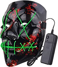 LED-Lichterkette (10 Stück), lustige LED Light Up Flash-Maske Halloween-Party Night Club Festival Männer Frauen Kostüm Cosplay LED Neuheiten Maske DJ-Maske