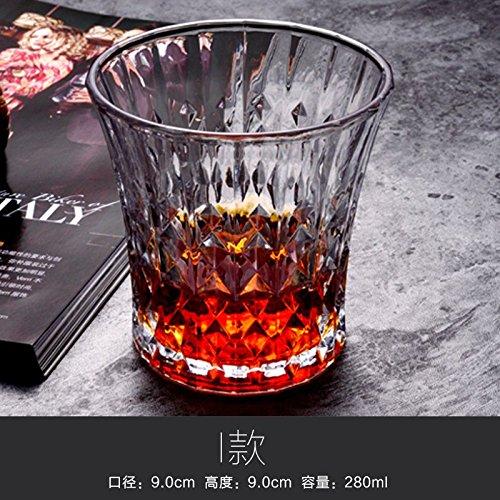 ZBZQ-Bleifreies Kristallglas, Whisky Schale, ausländischen Wein Schale, Glas, Milch, Wasser, Tasse, Tasse Tee, Bier Schale, rechteckig Schale, ich Whiskey (Glas Milch Kostüme)