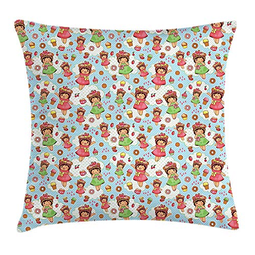VTXWL Anime Throw Pillow Cushion Cover, Cute Little Girls with Fruit Waffle Hats Cookies Donuts and Cupcakes Yummy Pastries, Decorative Square Accent Pillow Case, 18 X 18 inches, Multicolor