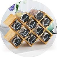 ecooe Porte-épices en Bambou avec 10 Pots à épices et étiquettes Pots en Aluminium pour armoires de Cuisine et Plans de…