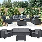 BICA Colorado Lounge Set Poly Rattan Gartenmöbel Rattanoptik Sitzgruppe anthrazit inkl. Auflagen (Mehrfarbig) (Anthrazit)