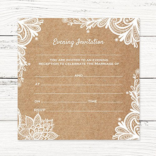 Evening Postcard Invitations   Rustic Lace Pattern   Pack Of 10