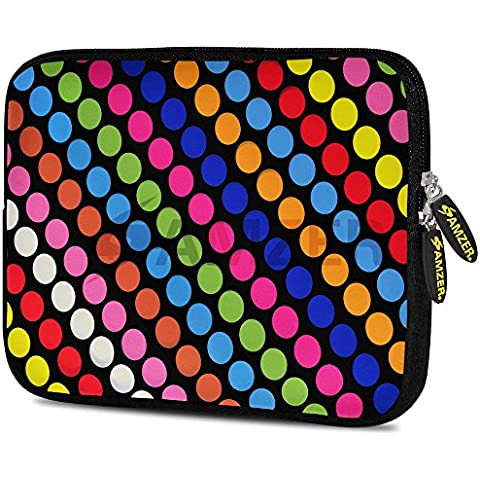 Amzer, Custodia In Morbido Neoprene, Multicolore (Righe E Pois Funky), 10.5