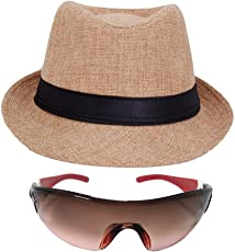 faas Fedora Hat Beige & Goggle Combo Summer Gift for Boys & Girls Age 8 to 14 yrs.FH04S