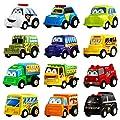 Aufziehautos, 12 Stück Ausgewähltes Mini Plastik Fahrzeug Set, YeoNational Spielzeuge Aufzieh LKW und Auto Spielzeuge für Jungen Kinder Kind Geschenke, Druckgussautors Spielzeug Spielset von YeoNational Toys