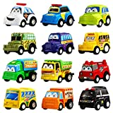 Macchine giocattolo della misura di 5,5 cm circa, set da 12 pezzi in confezione regalo. Tra i vari veicoli troverete la macchina della polizia, il taxi, il camion dei pompieri, il furgone della frutta e tantissimi altri tipi di mezzi a 4 ruot...