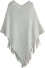 Fascigirl Women's Batwing Tassel Poncho Cape Shawl for Winter Autumn