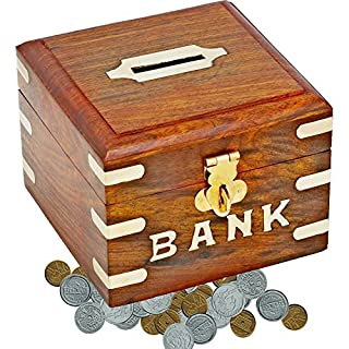 SKAVIJ Wooden Piggy Bank, Money Safe Fun Toy for Saving and Storing Coins Cash Box Gifts