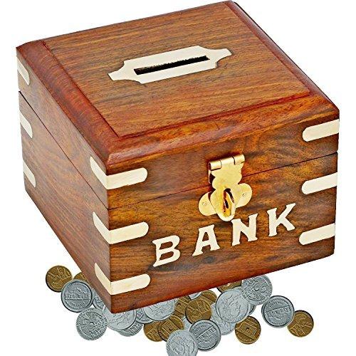 SKAVIJ Holzbox Quadratisch Sparbüchse Spardose Handgemacht Sparschwein zum Geburtstag Holzbox mit Deckel Vintage 13 cm