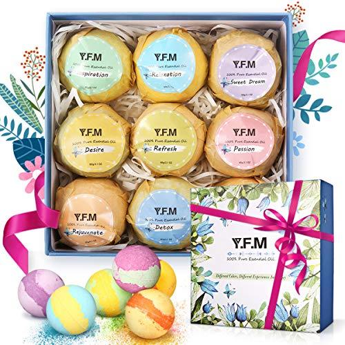 Badebomben Geschenkset, Y.F.M Badekugeln Kit für Feuchtigkeitsspendende Hautpflege Spa-Aromatherapie usw., Bath-Bomb & Bade-Set 9X60g Entspannen die Körper & Geist, Tolle Geschenkidee