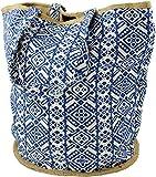 Guru-Shop Handgefertigte Boho Shopper Tragetasche, Strandtasche, Einkaufstasche - Blau, Herren/Damen, Baumwolle, Size:One Size, 40x45x30 cm, Bunter Stoffbeutel