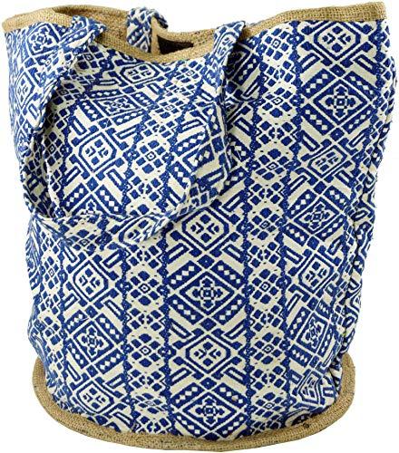 Fair-trade-shopper (Guru-Shop Handgefertigte Boho Shopper Tragetasche, Strandtasche, Einkaufstasche - Blau, Herren/Damen, Baumwolle, Size:One Size, 40x45x30 cm, Bunter Stoffbeutel)