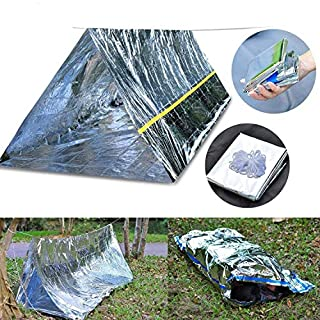Emergency Survival Kits, Emergency Shelter Tube Tent & Emergency Bag - Super Lightweight Space Blanket Material to Reflect & Retain 99% Body Heat for Camping Hiking Travelling or Adventures