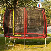 Rocket Bunny® Sports Outdoor 10FT Trampoline with Safety Net Enclosure, Ladder and Basketball Hoop for Kids and Adults