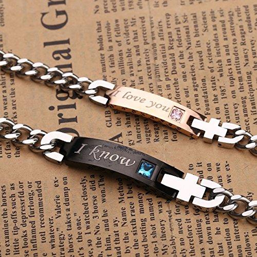"""PiercingJ """"I Know"""" und """"I Love You"""" Schrift ein Paar Partner Armbänder aus Edelstahl Curb Kette Armband für Herren Damen, 7.3""""-10.3"""", silber rosegold schwarz (Partner Armbänder, """"I Know""""+""""I Love You"""")"""