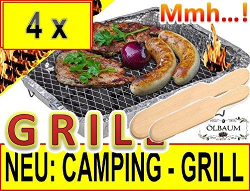61duqZY07vL - 4 x Einweggrill KOMPLETT MIT 2 kg HOLZKOHLE + 2 x PREMIUM-HOLZWENDER / HOLZSCHAUFEL Grillgabel Grillbesteckals Campingkocher Klappgrill Faltgrill CAMPING GRILL Grillroste Alu-Grill Einmalgrill Holzkohlegrill (ohne Gasgrill) Einmalgrill