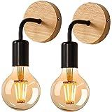 Applique Murale Rétro 2 Pack, Lampe Murale en bois, Éclairage Mural Métal Vintages, pour salon, chambre à coucher, décoration