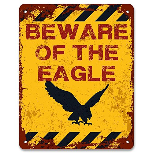 Tin Sign Fashion Beware of The Eagle Metal Warning Sign Metal Aluminum Sign Wall Plaque for Indoor Outdoor 7.8x11.8 Inch -