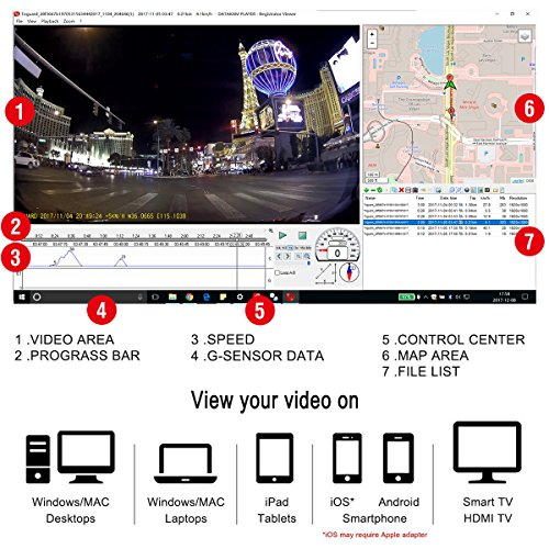 TOGUARD Dash Cam GPS WiFi car Camera maximal HD 1080PCar Cam 170 diverse Angle245 Inch screen Dashboard Camera by using made in GPS ModuleWiFiLoop RecordingG sensorMotion DetectionParking Monitor