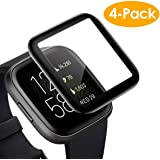 CAVN Screen Protector Compatible with Fitbit Versa 2, 4 Pcs Full Coverage Screen Protector Protective Cover Saver for Versa 2