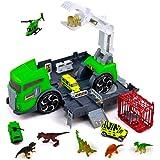 jerryvon Dinosaurios Juguetes Camión de Dinosaurio con 7 Animales de Figuras Dinosaurios 3 Coches de Juguetes Jurassic World