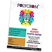 Polycrom Korean Photo Glossy Inkjet Paper A4 Size - White,Vibrant, Crisp, Smudge Proof, Dry Fast : 135 GSM 50 Sheets