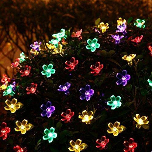 Kingko® Solar Lichterkette, LED Solar Blumen Lichterkette 50er Warmweiß,8 Modi solar lichterkette für Garten, Hochzeit, Party usw (Farbig) Ming Blossom