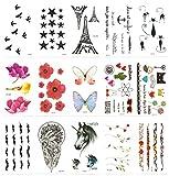 Chileeany Set di 15 fogli Tatuaggi temporanei,impermeabile tatuaggio temporaneo (10.5 × 6.0cm)