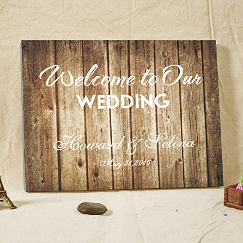 Rustikal Hochzeit Gästebuch Alternative grau Holz Muster Hochzeit Welcome Schild Leinwand Gästebuch Hochzeit für den Zubehör Geburtstag Geschenk Andenken