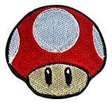 Red Mushroom patch Embroidered Iron on Badge Aufnäher Kostüm Mario Kart/SNES/Mario World/Super Mario Brothers/Mario All Stars Cosplay