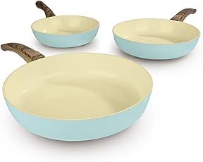 BRATmaxx Keramik-Pfannen 00461 | Pfannen-Set | 20 cm, 24 cm, 28 cm | für Alle Herdarten (inkl. Induktion) | Backofengeeignet | Spülmaschinenfest | inkl. Pfannenschoner