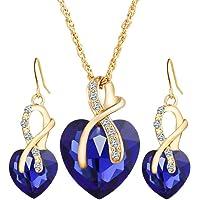 Gioielli regalo per le donne amore cuore rosa oro collana e orecchini set di gioielli regalo per compleanno/anniversario…