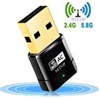 NETVIP WLAN USB Stick, 600Mbps Dual Band 2.4G 150Mbps/5G 433Mbps WiFi Netzwerk Dongles Mini Wireles AP Adapter WPS 802.11ac/n/g/b für Windows XP/7/8/10/Mac OS