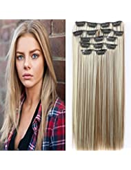 """24 """"Full Clip Head dans les extensions de cheveux Ombre droite Dip Dye 7pcs Mix Blond Chatain"""