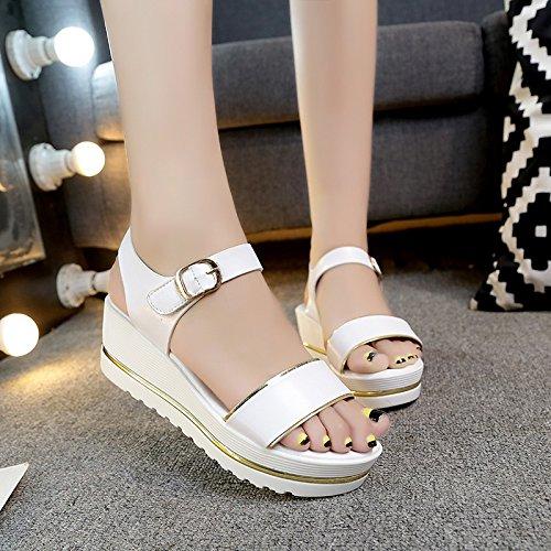 Lgk & fa estate sandali da donna estate sandali con tacco impermeabile piattaforma di spessore inferiore antiscivolo scarpe per studenti prémaman scarpe scarpe White