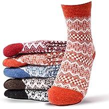 Le donne 5 paia Crew Socks Vintage invernali in pile confortevole Calzini (Cotone Fuzzy)