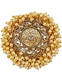 MUCH MORE Ethnic Gold Plated Adjustable Polki Ring For Women