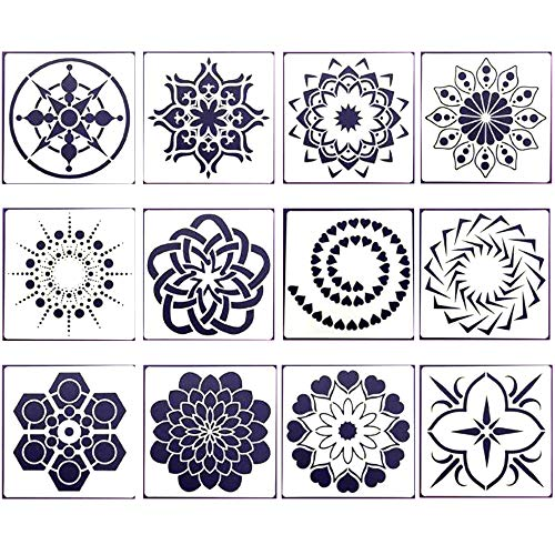 Xinlie Mandala Dotting Schablonen DIY Malerei Zeichenschablonen Kunststoff Vorlagen Verschiedene Muster,Punktmalvorlagen,Kunstwerkzeuge für DIY Steine,Wandkunst,Leinwand,Holzmöbel Malerei (12 Stück)