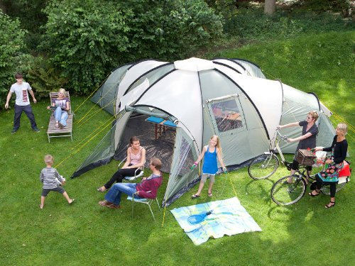 skandika Korsika Large spacious 10-Person Family Group Camping Tent with 3 Sleeping Room- Dome Design – Insect Protection Mesh, water resistant material with 3000 mm water column & 2m standing height