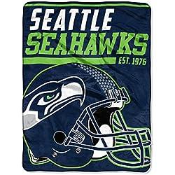 The Northwest Company NFL Seattle Seahawks 40-Yard Dash Micro Raschel Überwurf Plüschdecke 117 x 152 cm , Grün/College Navy
