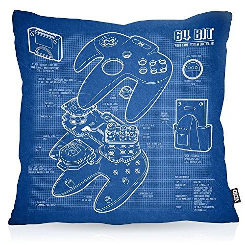 VOID N64 Controller Kissenbezug Kissenhülle Outdoor Indoor 64-Bit Videospiel, Kissen Größe:40 x 40 cm
