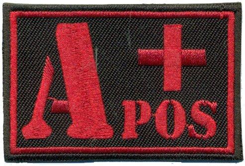 A+POS Blutgruppe Positiv Military Survivor Biker Rotkreuz Abzeichen Aufnäher