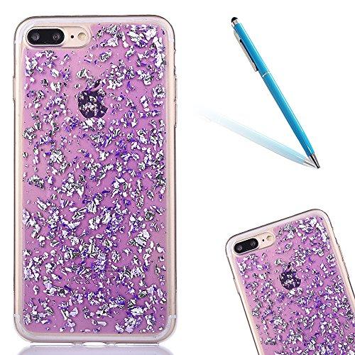 """iPhone 7Plus Handyhülle, iPhone 7Plus Liquid TPU Case, CLTPY Kreativ 3D Fließen Flüssig Bling Schwimmend Treibsand Herz, Glanz Shiny Kristallklar Schale Etui für 5.5"""" Apple iPhone 7Plus (Nicht iPhone  Lila"""