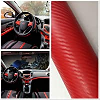 KaaHego Self Adhesive Red 3D Carbon Car Interior Wrap Vinyl Sticker for All Car Cv16 24''x12''inch