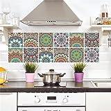 Adhesivo para azulejos Adhesivo decorativo azulejos para baño y cocina Azulejos adhesivos de imitación Collage de azulejos 6 (Piezas), Sencillo Vida