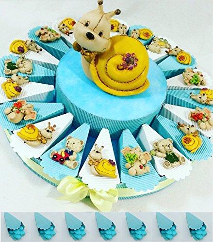 Torta bomboniera con 20 animali calamita e centrale salvadanaio, originali bomboniere per battesimo, nascita maschio kkk (torta animaletti magnete centrale lumaca salvadanaio)